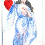 Entertainment - Playing card - Ace of Hearts - Female figure in robe holding heart
