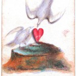 Entertainment - Playing card - Ace of Hearts - White doves