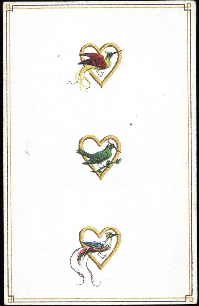 Entertainment - Playing card - Three of Hearts - Birds