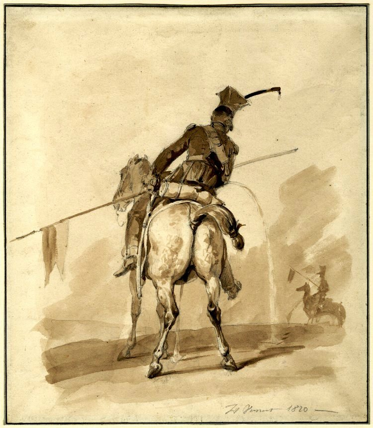 Medical - Illustration - Urination of soldier and horse at the same time