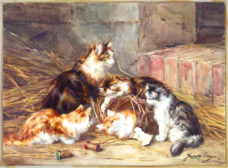 Animal - Cat - Kittens in a barn