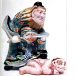 Art - Asian - Japanese porcelain, Seto, figure beating a demon