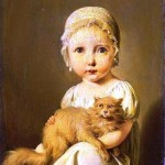 Portrait - Painting - Child with cat