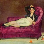Portrait - Painting - Woman reclining in Spanish dress with kitten (Manet)