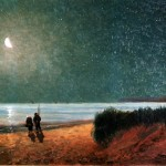 Seascape - Painting - Fisher couple walking in moonlight