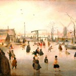 Seasonal - Winter - Landscape - Painting - Iceskaters