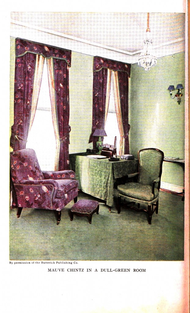 Design - Interior - Mauve chintz in a dull green room