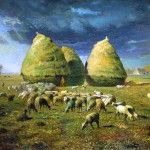 Landscape - Painting - Haystacks with lambs
