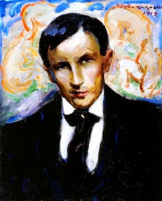 Portrait - Painting - Man in a suit with sneer