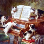 Animal - Animal acting human - kittens playing piano