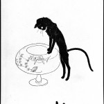 Animal - Cat - Black cat watching fish bowl