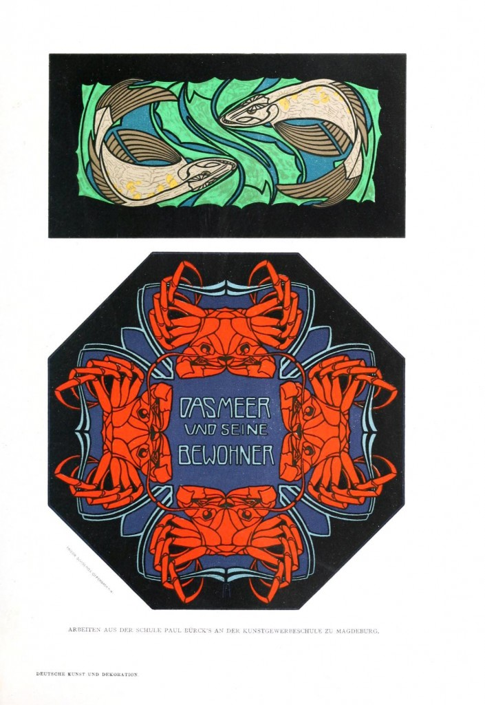 Animal - Crustacean - Crabs, art nouveau