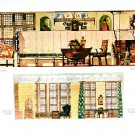 Design - Interior - Elevation, illustration, green, brown