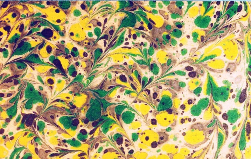 Design - Paper - Marbleized green and yellow