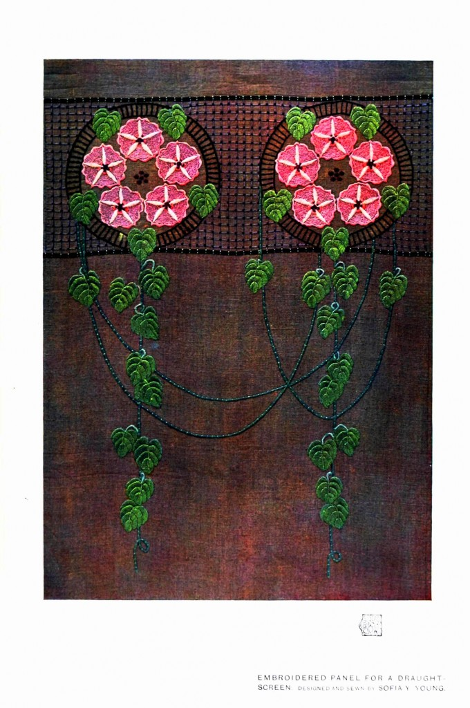 Design - Textile - Embroidered panel, pink flowers, vine