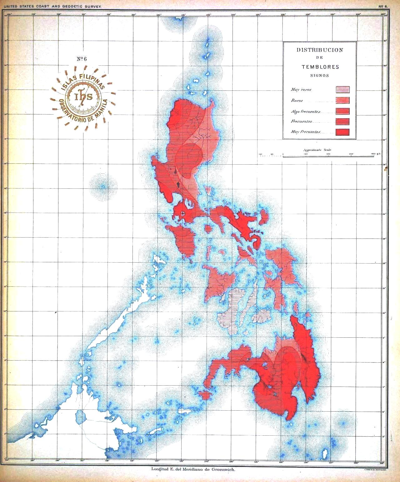 Picture of: Geopolitical Map Asia Pacific Philippines Earthquake Frequency Vintage Printable At Swivelchair Media Beta