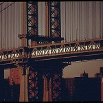 Landscape - Photo - Brooklyn bridge with subway 1974