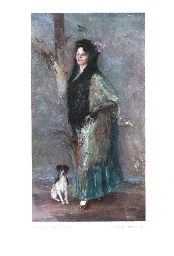 Portrait - Painting - Woman in green with dog