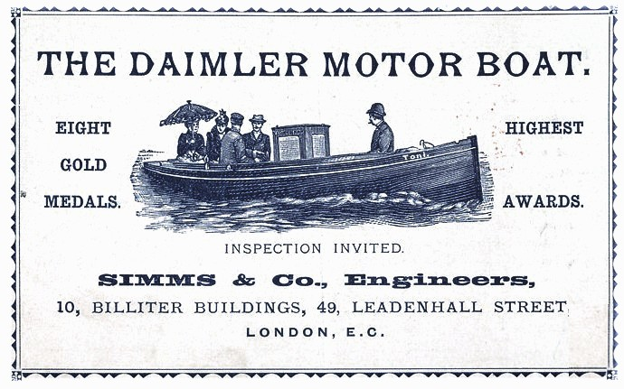 Printed matter - Advertisement - Daimler Motor Boat