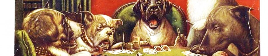 Animal - Animal acting human - Dogs playing cards