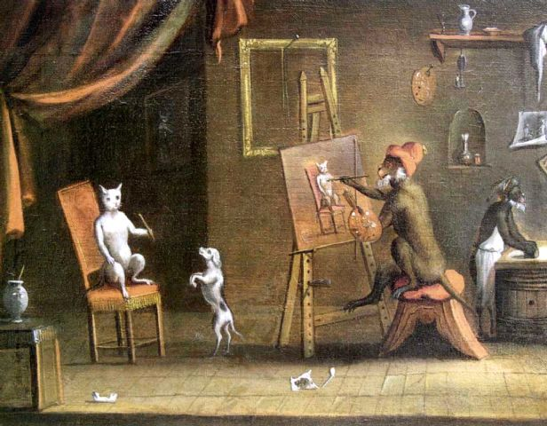 Animal - Animal acting human - Monkey painting cat