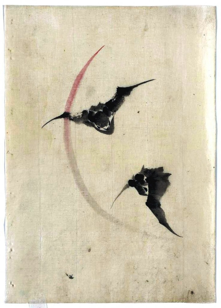 Animal - Bat - Flying - Asian brush painting