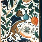 Dog Doctor performs uroscopy on kitten 15thC