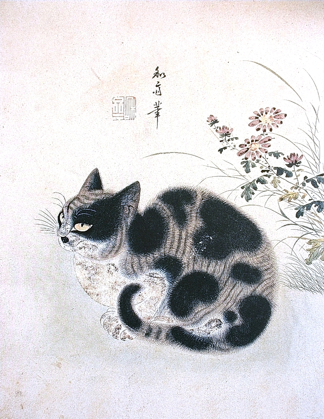 Animal - Cat - Korean painting, autumn cat with chrysanthemum