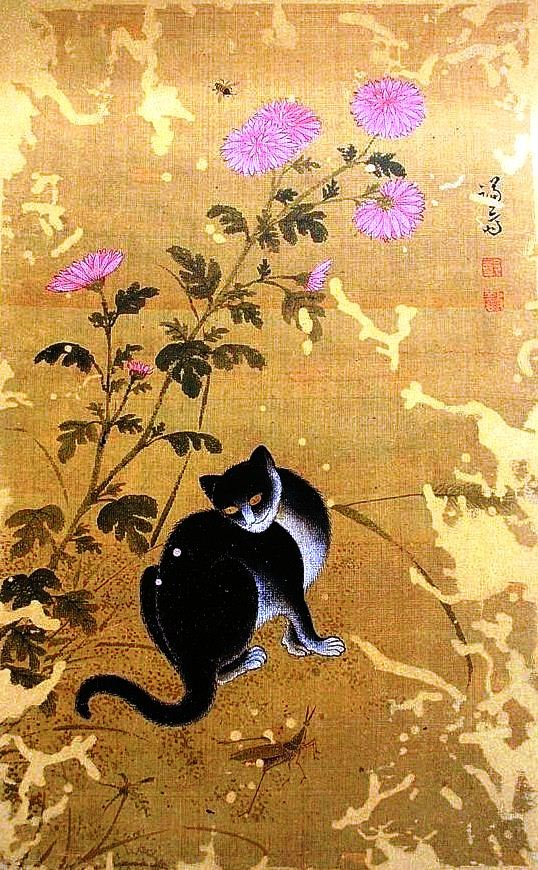 Animal - Cat - Korean painting, cat with flowers
