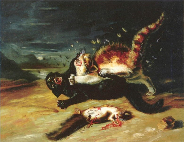 Animal - Cat - Painting - Cat fight