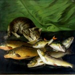 Animal - Cat - Painting - Eating Fish