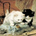 Animal - Cat - Painting - Kittens watching a bug