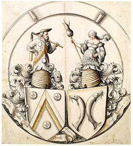 Animal - Insect - Bees - Medieval - Emblem involving honey and marriage and beehives