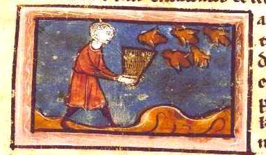 Animal - Insect - Bees - Medieval - Man holding bee hive