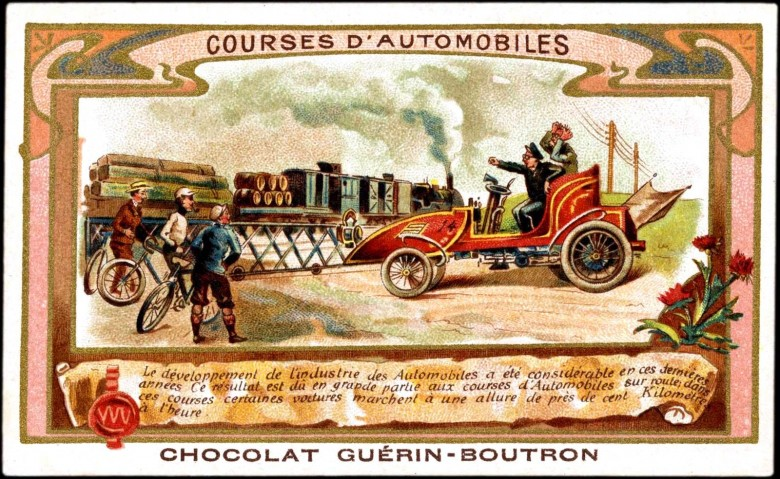 Art - Advertisement - Chocolat Suchard - Road with automobiles