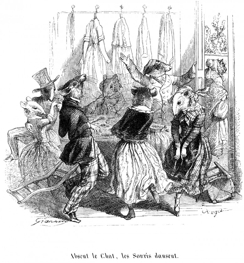Art - Aphorisms - When the cat's away, the mice will play - Grandville (1845)