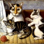 Art - Drawing - Animal - Cat - Cat and Kittens, American