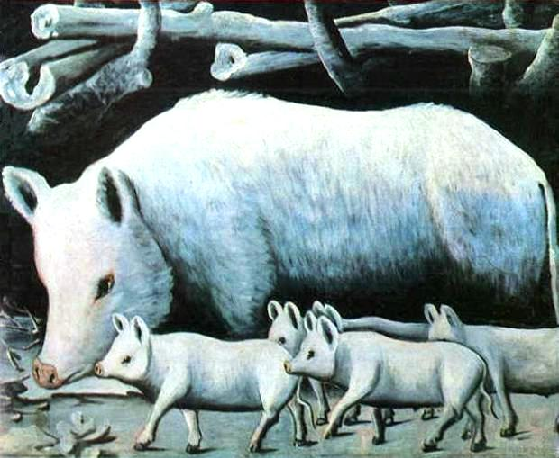 Art - Folk Art - Russian - Animal - Pig and piglets