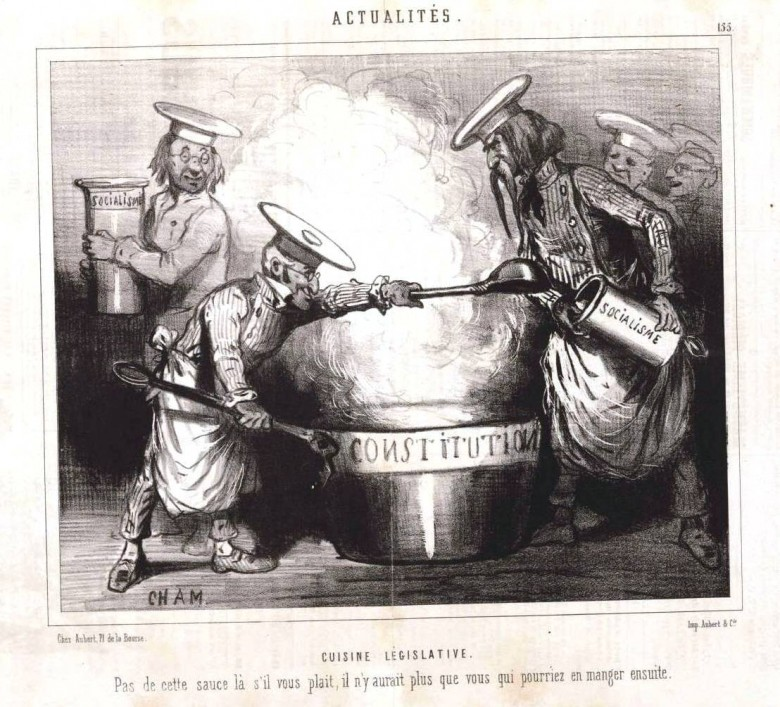 Art - Illustration - Political - French - Satire - Cuisine Legislative  1848