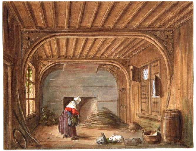 Art - Interior - Room with rabbits
