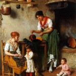 Art - Narrative - Interior - Women, children and cats in kitchen