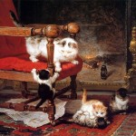 Art - Painting - Animal - Cat - Cats by a fireplace