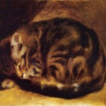 Art - Painting - Animal - Cat -  Sleeping cat, Renoir