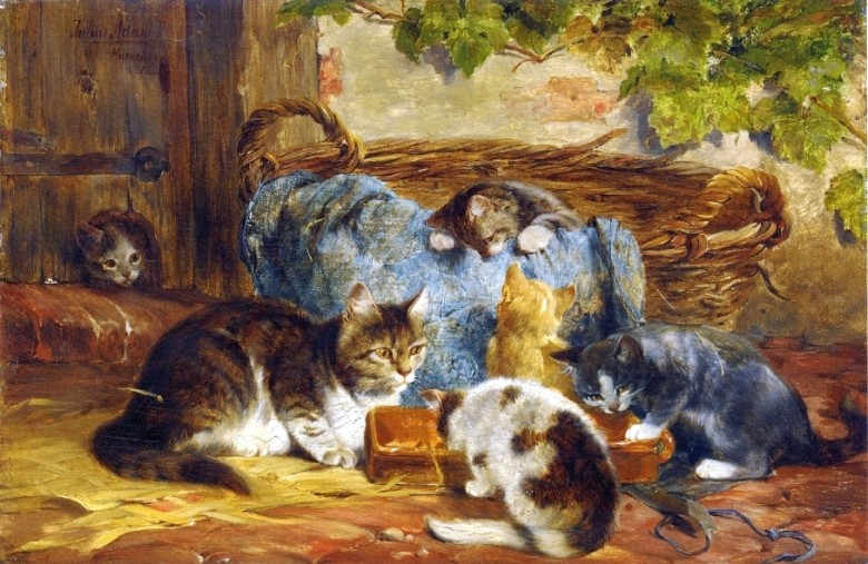 Art - Painting - Animal - Cat - The Kitten's Supper, Adam