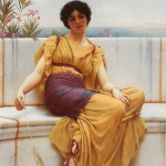 Art - Painting - Girl with cat, mustard colored dress