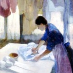 Art - Painting - Interior - Woman ironing
