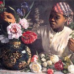 Portrait - Painting - Botanical - African woman with peonies