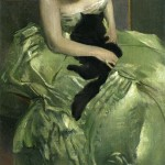 Art - Portrait - Girl with cat - Green dress