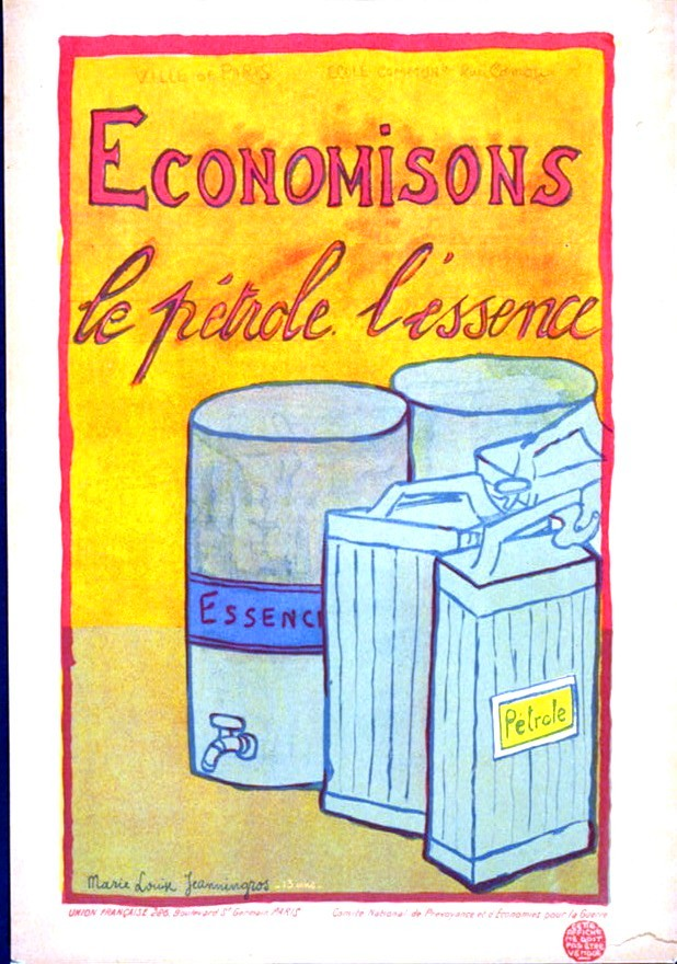 Art - Poster - Advertisement - WWI - French - L'economise le petrole l'essence