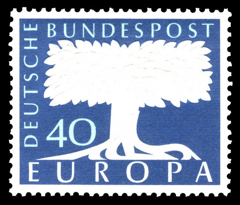 Art - Stamp Art - Europa - White tree and blue